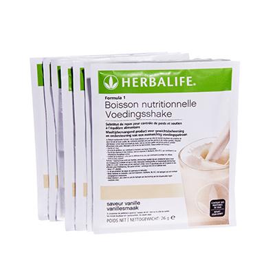 Herbalife Formule 1 voedingsshake portie verpakking vanillesmaak 7 zakjes