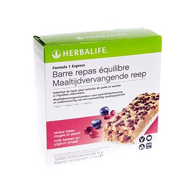 Herbalife Formula1 express maaltijdvervangende reep 7 repen rode bessen en yoghurt smaak